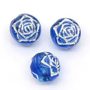 Blue/Silver Foil Round Acrylic Bead
