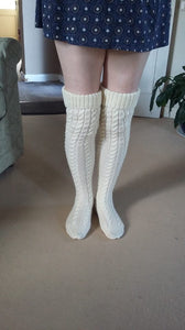 Hand Made Cabled Over the Knee Socks - Exclusive to Crafts by Design