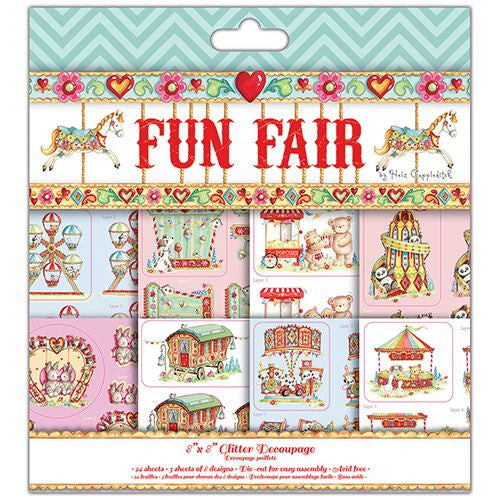 Funfair 8 x 8 Glitter Decoupage – 24 sheets