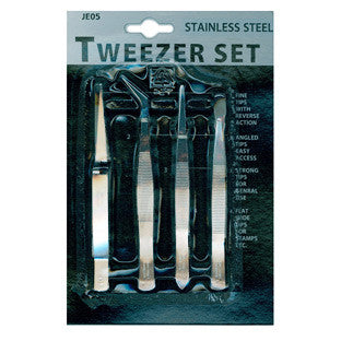 Tweezers 4 Piece Set