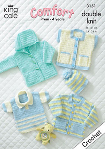 Baby Garments Crochet Pattern - King Cole 3151