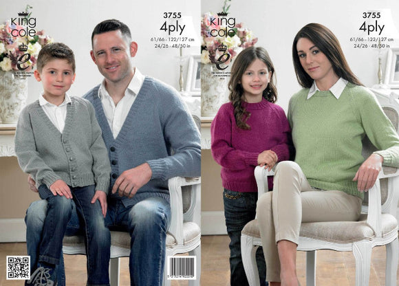 Family V Neck Cardigans and Round Neck  Sweaters Knitting Pattern - King Cole 3755