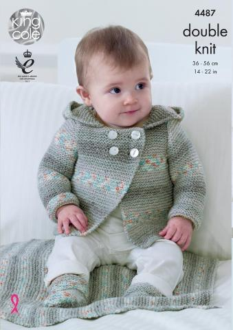 Baby Hoodie, Blanket & Socks Knitting Pattern - King Cole 4487