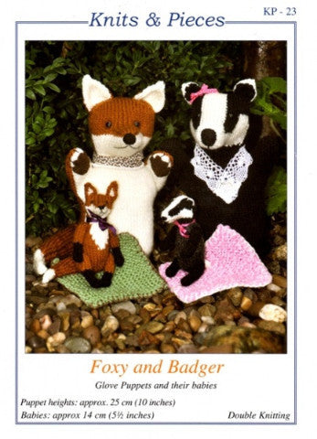 KP-23 Foxy and Badger Glove Puppets and Their Babies Knitting Pattern