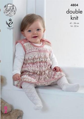 Baby/Toddler Dress, Jacket, Tank Top and Hat Knitting Pattern - King Cole 4804