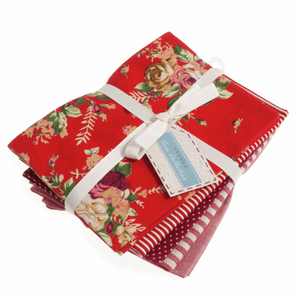 Fat Quarters Pack: Printed: Red: 5 Pieces