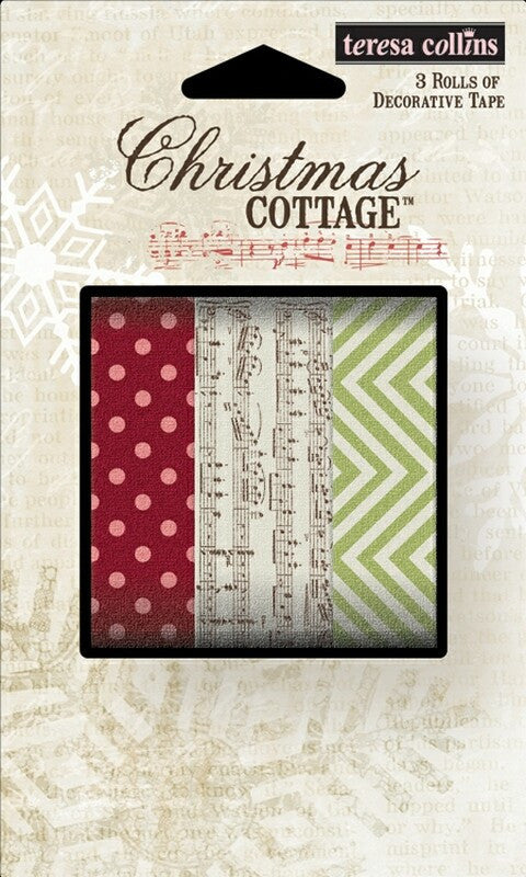 Christmas Cottage Decorative Tape x 3 32ft rolls