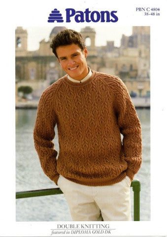 Men's Round Neck Cable Sweater - Patons 4804