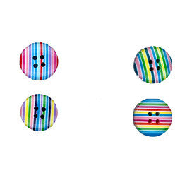 Multi Stripe 17mm 4 Hole Round Buttons