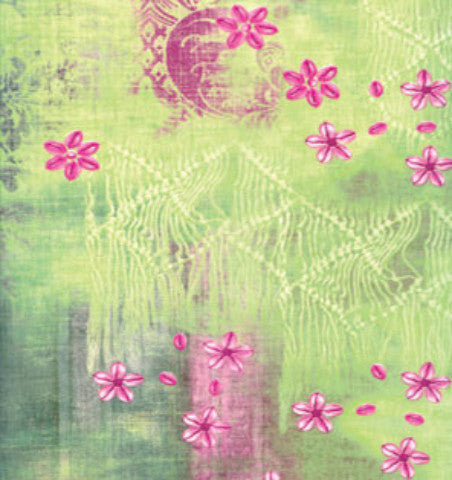 Decopatch Paper - Lime Green with Hot Pink Flowers