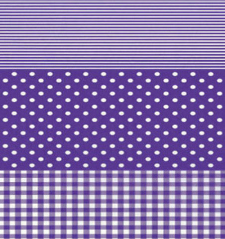 Decopatch Paper - Purple Gingham, Stripes and Spots
