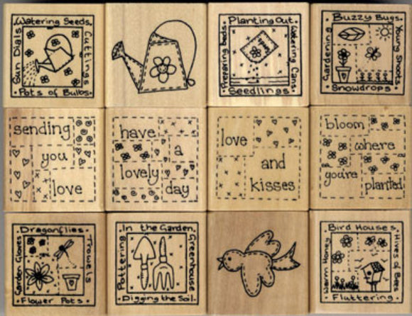 Gardeners Delight Wood Mounted Rubber Stamp Kit by Personal Impressions
