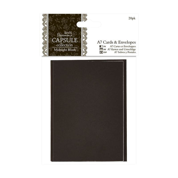 Papermania A7 Cards & Envelopes (20pk) - Capsule Collection - Midnight Blush