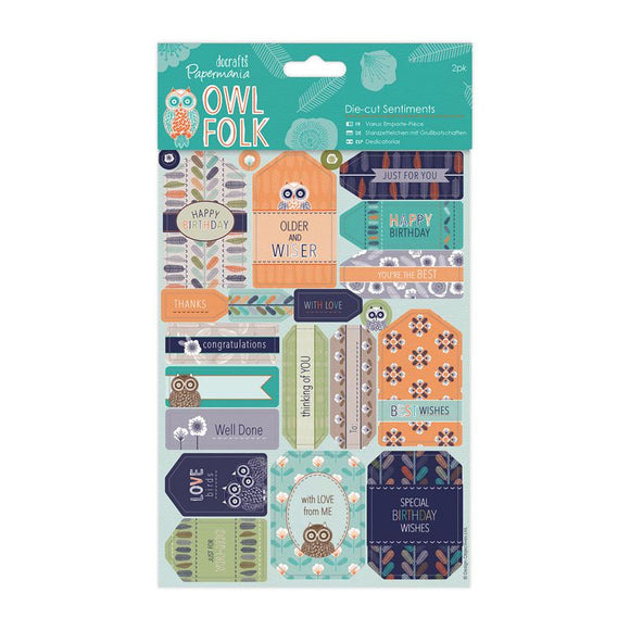 Papermania Die-cut Sentiments (2pk) - Owl Folk