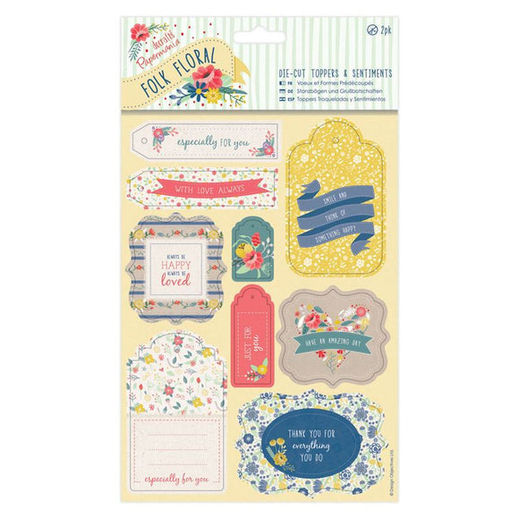 Papermania Folk Floral - Die-Cut Toppers & Sentiments (2pk)