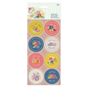 Papermania Folk Floral - Sticker Sheet (16pcs)