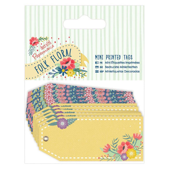 Papermania Mini Printed Tags (10pk) - Folk Floral