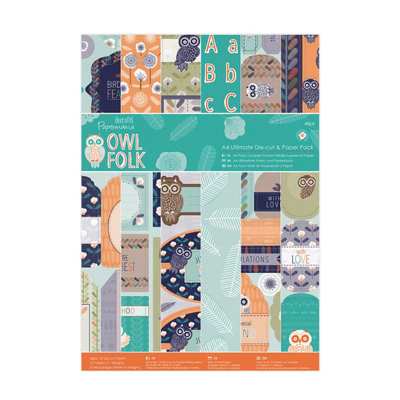 Papermania A4 Ultimate Die-cut & Paper Pack (48pk) - Owl Folk
