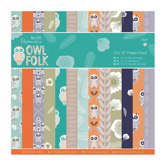 Docrafts Papermania Owl Folk - 12x12 Paper Pack (32pk)
