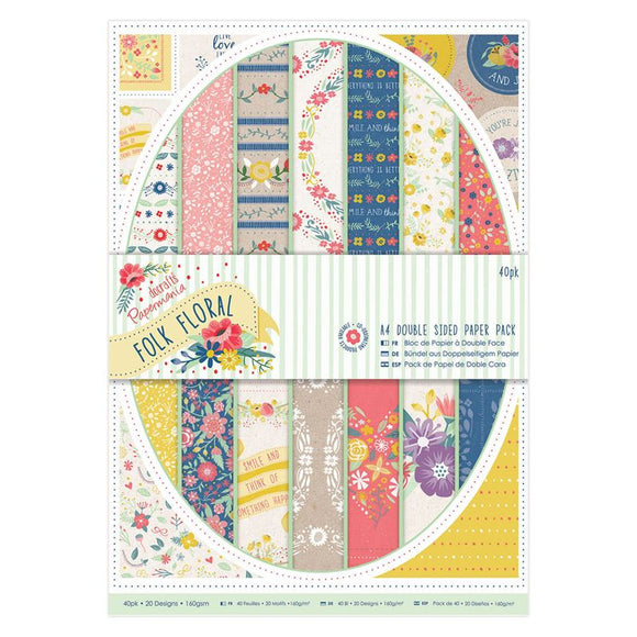 Docrafts Papermania Folk Floral - A4 Double Sided Paper Pack (40pk)