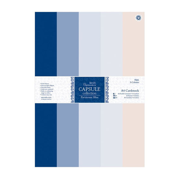 Papermania A4 Cardstock Packs (50pk) - Capsule Collection - Parisienne Blue