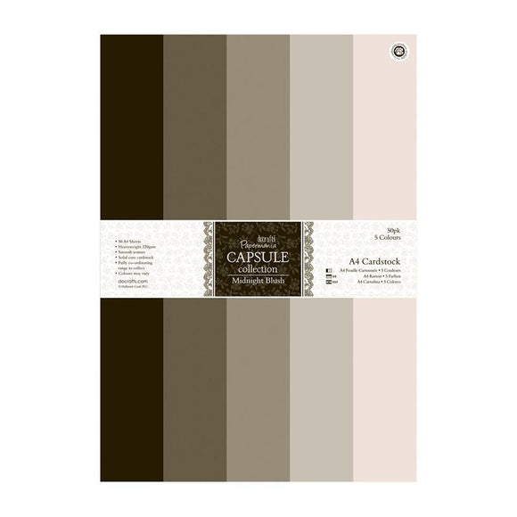 Papermania A4 Cardstock Packs (50pk) - Capsule Collection - Midnight Blush
