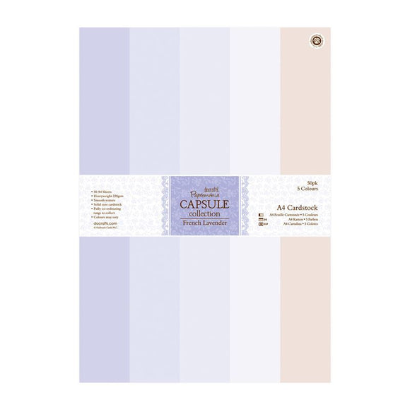 Papermania A4 Cardstock Pack (50pk) - Capsule Collection - French Lavender