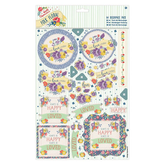 Papermania A4 Decoupage Pack - Folk Floral - Laugh