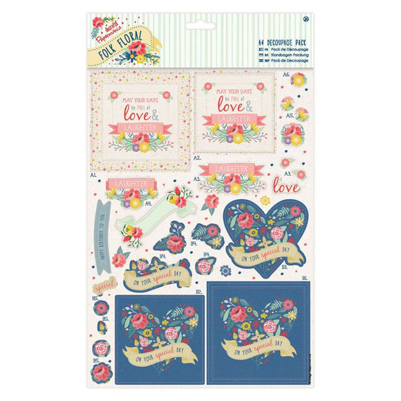Papermania A4 Decoupage Pack - Folk Floral - You're the Best