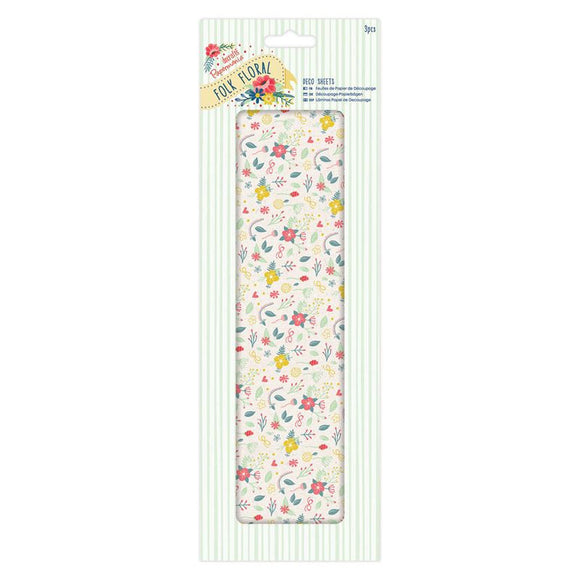 Papermania Deco Sheets (3pcs) - Folk Floral - Wildflowers