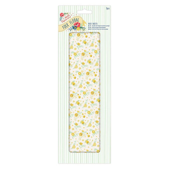 Papermania Deco Sheets (3pcs) - Folk Floral - Yellow Wildflowers