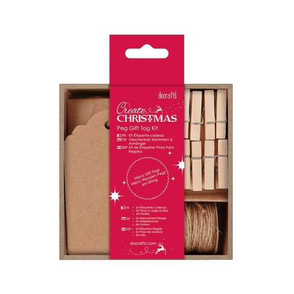 Docrafts Peg Gift Tag Kit (24pk) - Create Christmas
