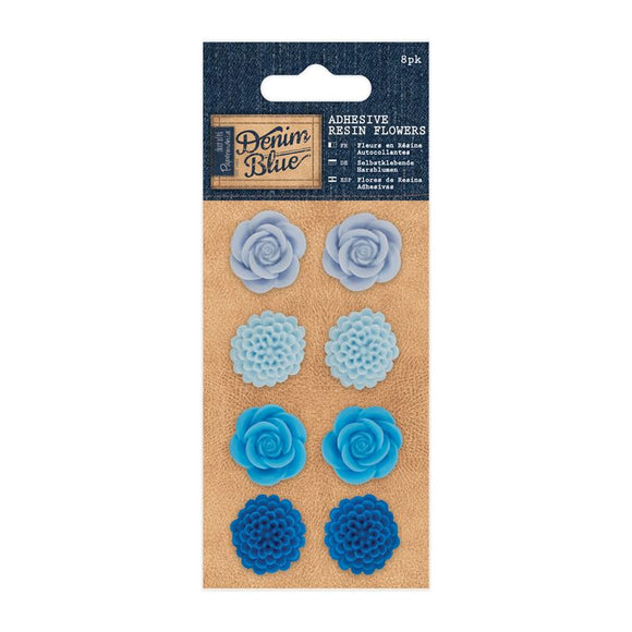 Papermania Adhesive Resin Flowers (8pk) -Denim Blue