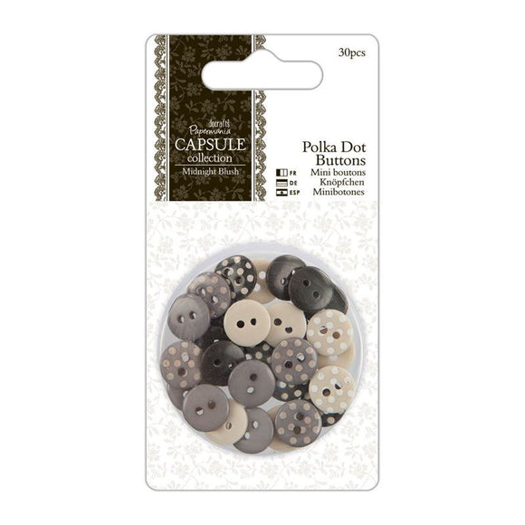 Papermania Polka Dot Buttons (30pcs) - Capsule Collection - Midnight Blush