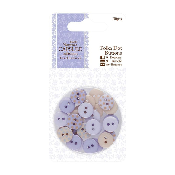 Papermania Polka Dot Buttons (30pcs) - Capsule Collection - French Lavender