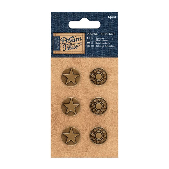 Papermania Metal Buttons (6pcs) - Denim Blue