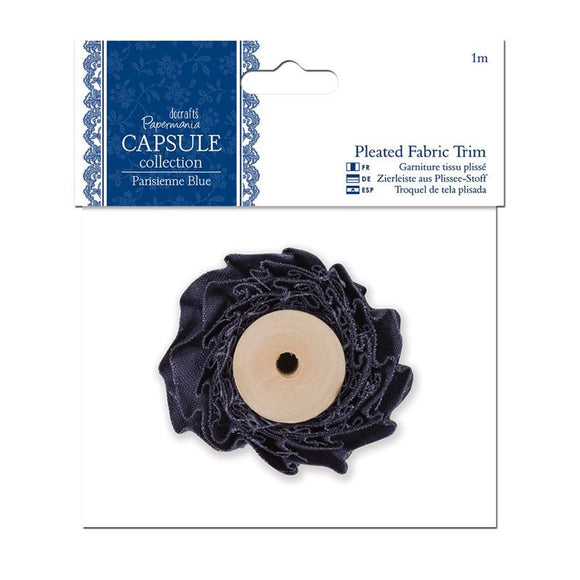 Papermania 1m Pleated Fabric Trim - Capsule Collection - Parisienne Blue