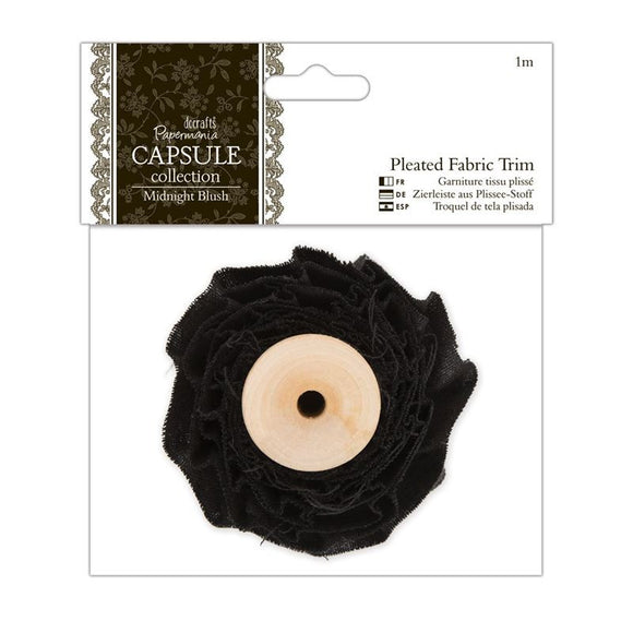 Papermania 1m Pleated Fabric Trim - Capsule Collection - Midnight Blush