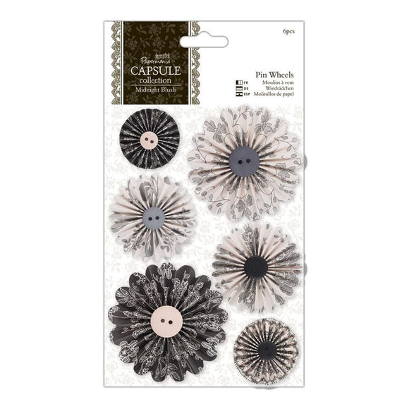 Papermania Pin Wheels (6pcs) - Capsule Collection - Midnight Blush