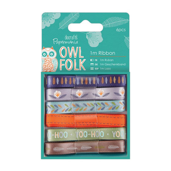 Papermania 1m Ribbon (6pcs) - Owl Folk