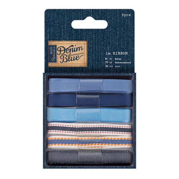 Papermania 1m Ribbon (6pcs) - Denim Blue
