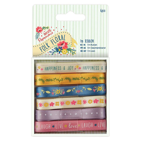 Papermania 1m Ribbon (6pcs) - Folk Floral