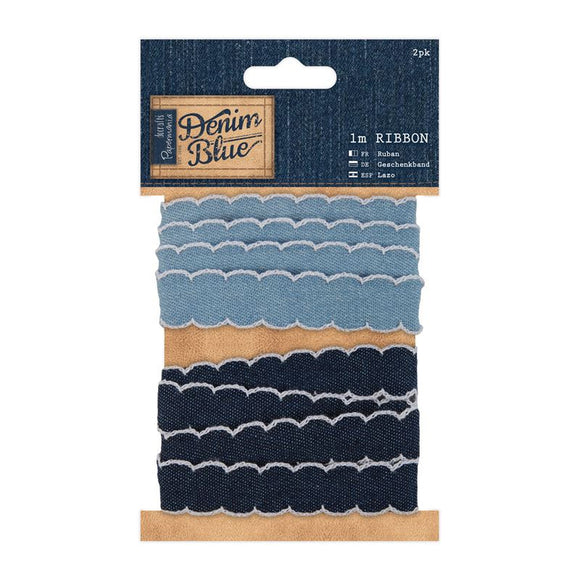 Papermania 1m Ribbon (2pk) - Denim