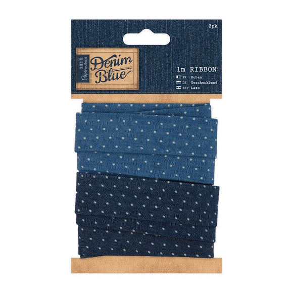 Papermania 1m Ribbon (2pk) - Denim Spot