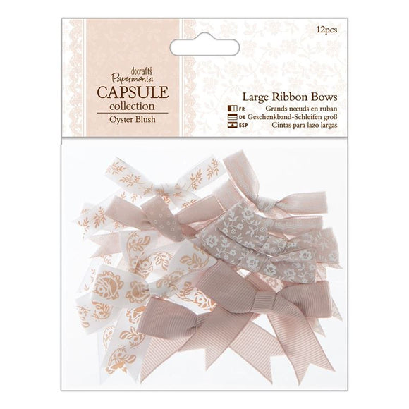 Papermania Large Ribbon Bows (12pcs) - Capsule Collection - Oyster Blush