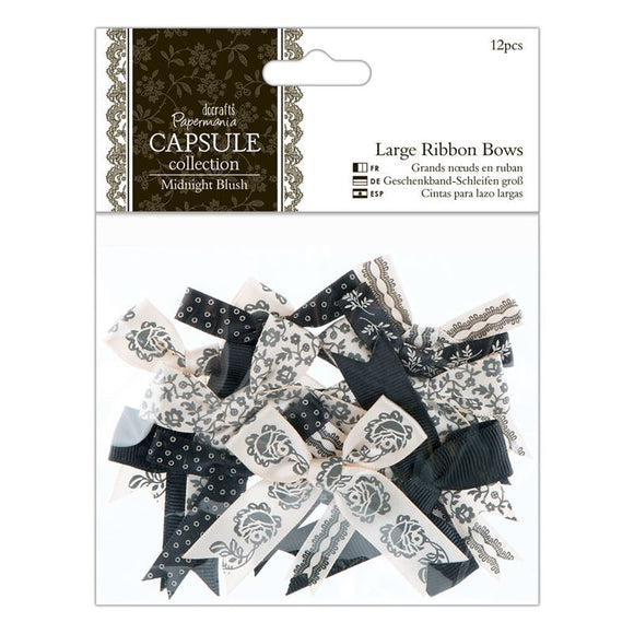 Papermania Large Ribbon Bows (12pcs) - Capsule Collection - Midnight Blush
