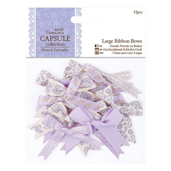 Papermania Large Ribbon Bows (12pcs) - Capsule Collection - French Lavender
