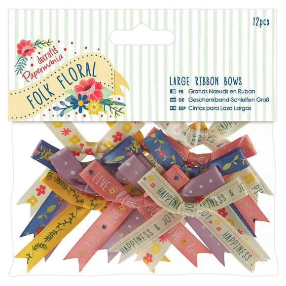Papermania Folk Floral - Large Ribbon Bows (12pcs)