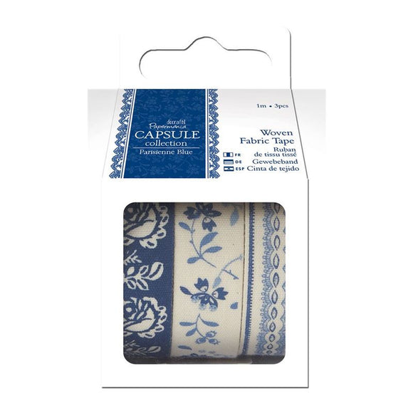Docrafts Papermania Capsule Collection - 1m Fabric Tape (3pcs) Parisienne Blue