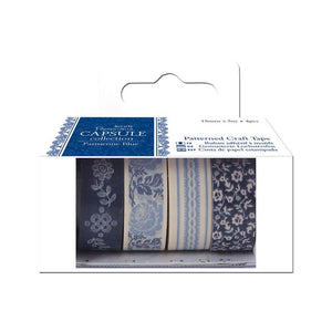 Papermania Patterned Craft Tape (4pcs) - Capsule Collection - Parisienne Blue